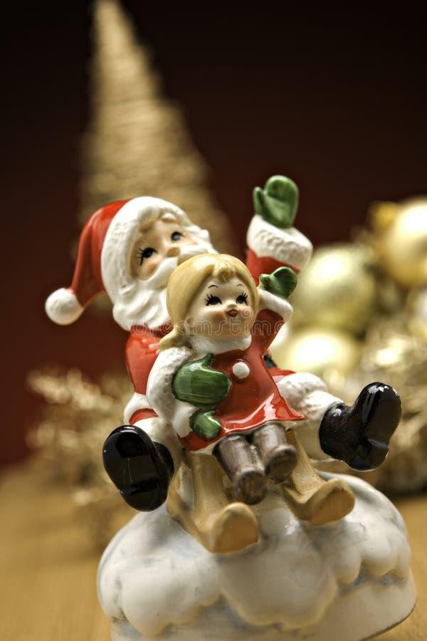 Natal Santa em um trenó fotografia de stock