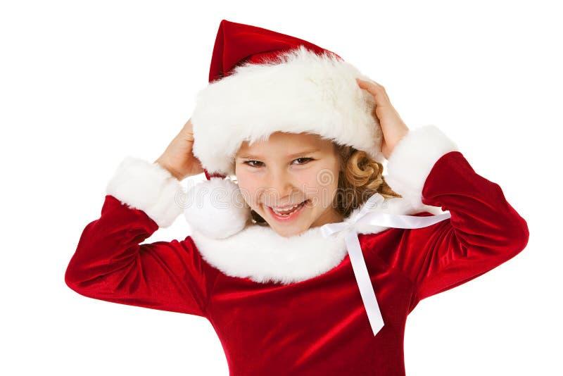Natal: Santa Girl pequena de riso foto de stock