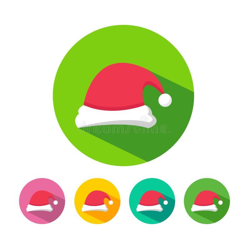 Natal Santa Hat Icons ilustração do vetor