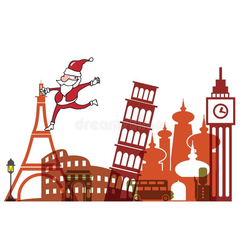 Natal Santa no marco Europa ilustração stock