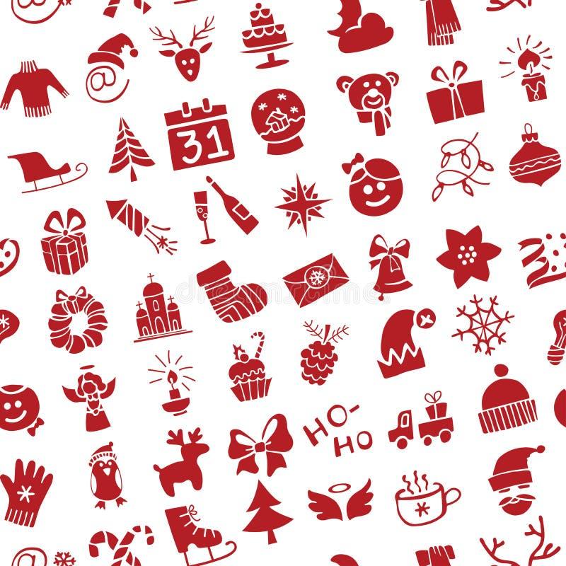 Natal, silhueta dos ícones do ano novo sem emenda ilustração do vetor