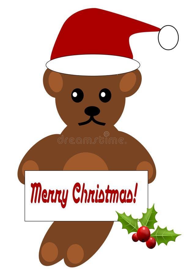 Natal Teddy Bear com Feliz Natal de um ` do sinal! ` ilustração royalty free