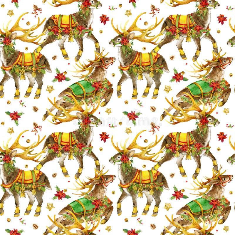 Natal teste padrão sem emenda da rena da aquarela ilustração do vetor