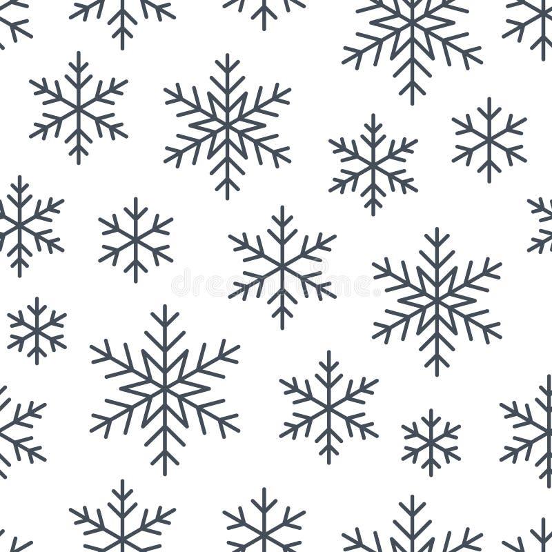 Natal, teste padrão sem emenda do ano novo, linha ilustração dos flocos de neve Vector ícones de feriados de inverno, neve fria d ilustração do vetor