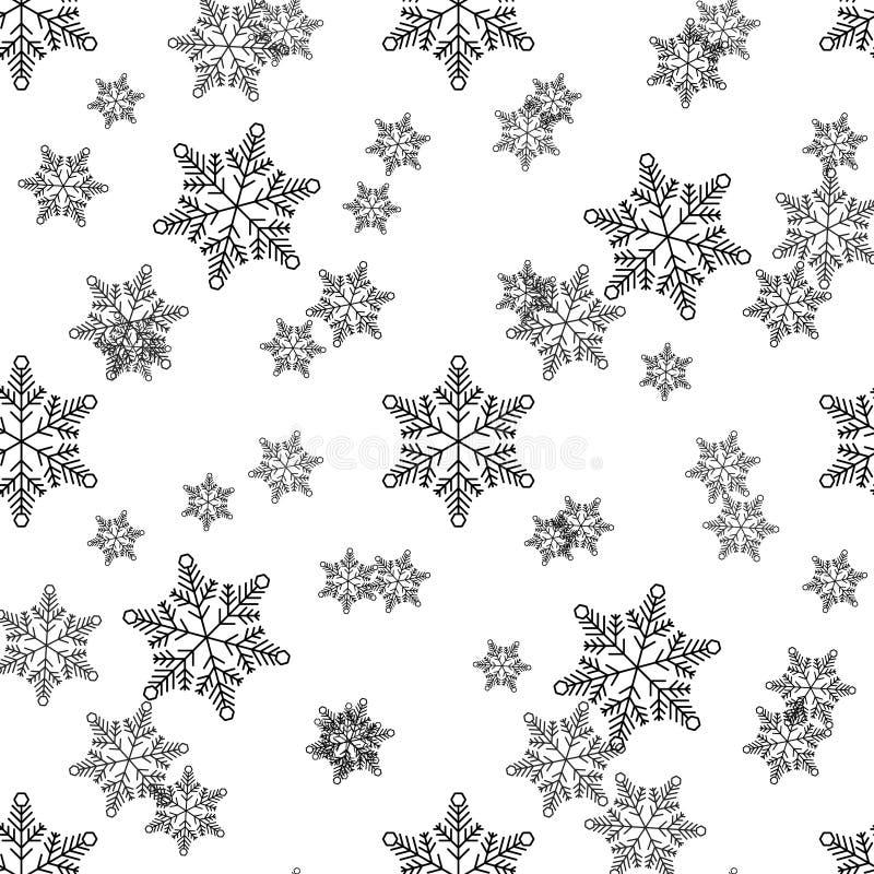 Natal, teste padr?o sem emenda do ano novo, linha ilustra??o dos flocos de neve ?cones do vetor de feriados de inverno, queda de  ilustração royalty free