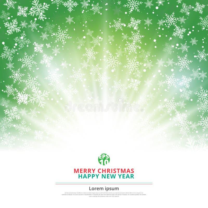 Natal verde do fundo do inverno feito dos flocos de neve ilustração do vetor