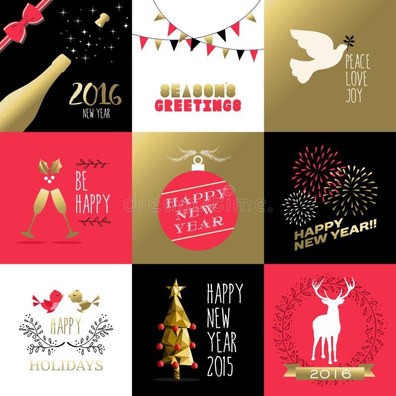 Natal 2016 vermelho da bandeira da etiqueta do ouro do ano novo ilustração do vetor