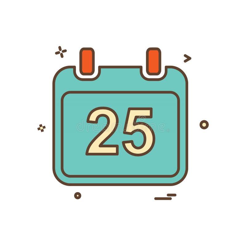 Natal vetor do projeto do ícone do calendário do 25 de dezembro ilustração stock