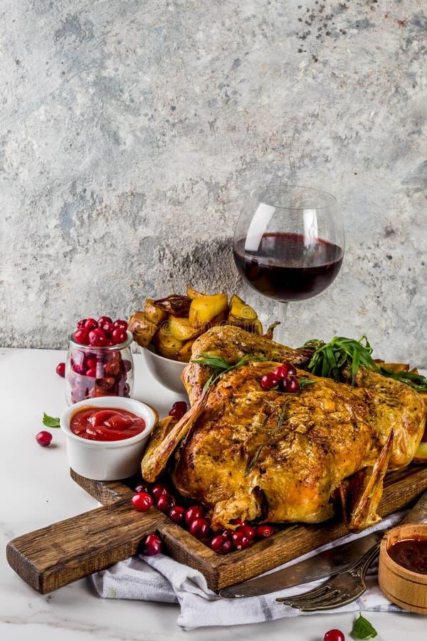 Natale, alimento di ringraziamento, pollo arrostito al forno con cranber immagini stock libere da diritti