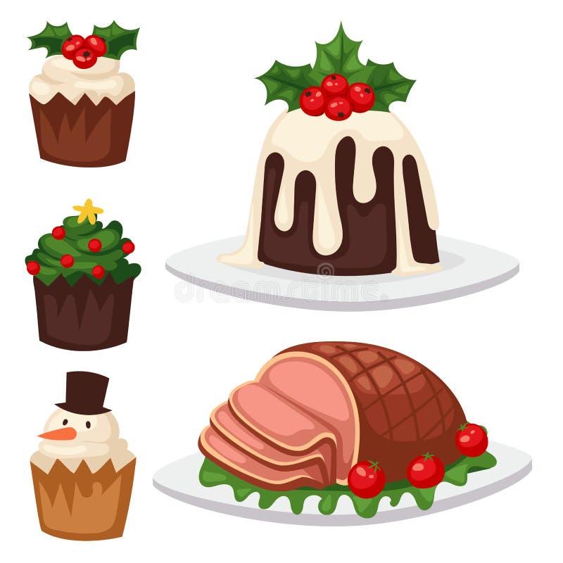 Natale alimento e celebrazione del dolce di natale della decorazione di festa dei dessert illustrazione di stock