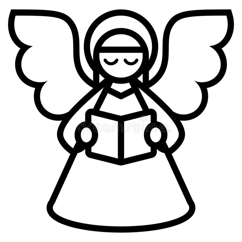Natale Angel Isolated On White Background del fumetto illustrazione vettoriale