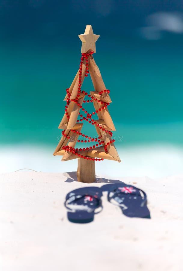Natale australiano alla spiaggia fotografia stock