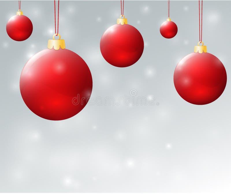 Natale balls1 rosso illustrazione di stock