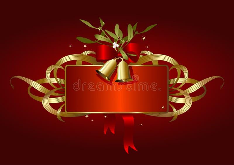 Natale-bandiera rossa e dorata illustrazione vettoriale