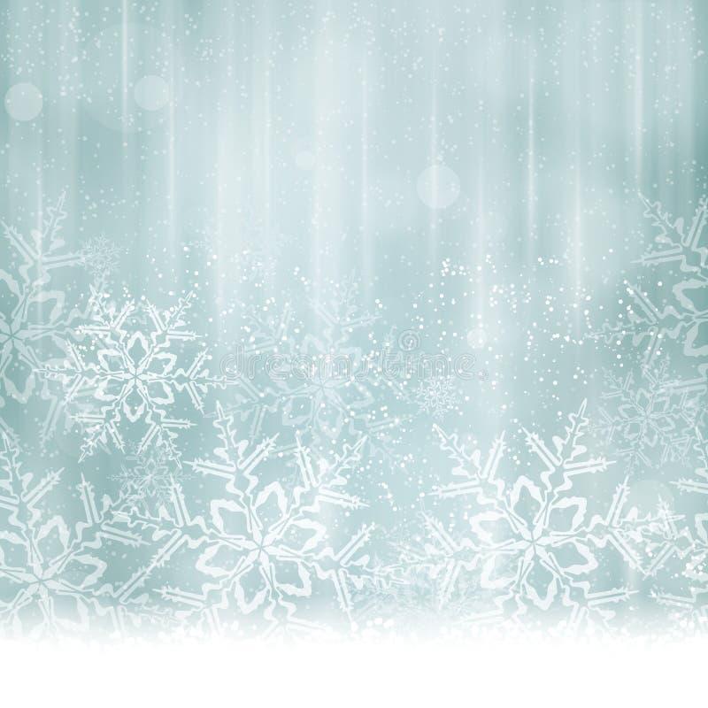 Natale blu d'argento astratto, fondo di inverno illustrazione di stock