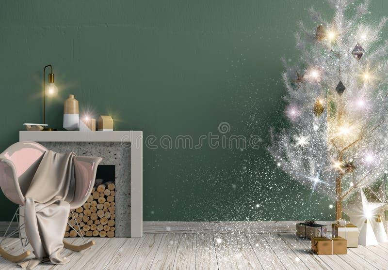 Natale brillante moderno interno con il camino, s scandinava illustrazione vettoriale