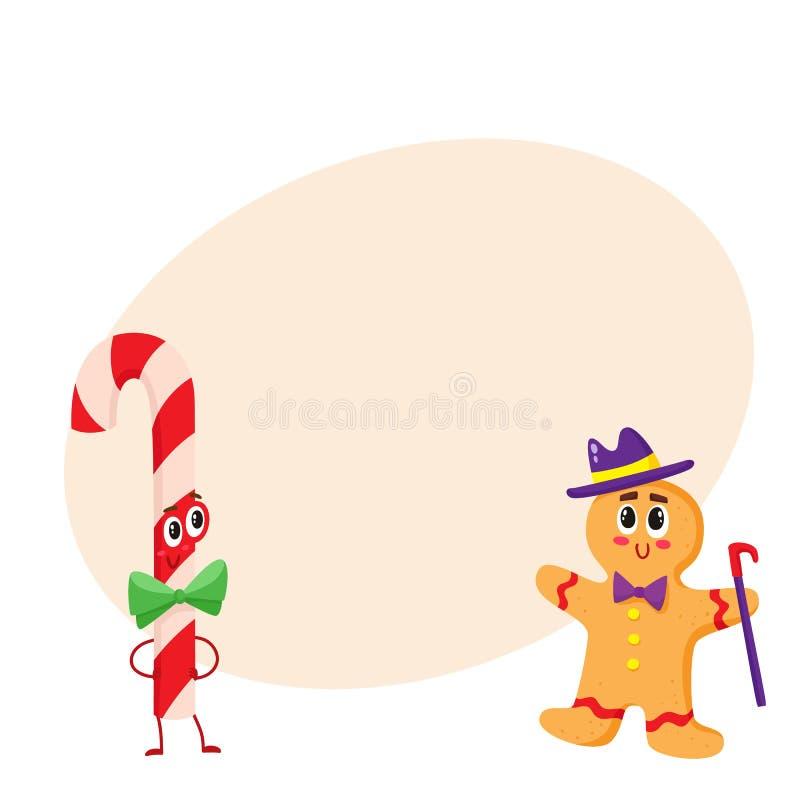 Natale caramella e carattere divertente del pan di zenzero, illustrazione di vettore del fumetto isolata su fondo bianco illustrazione di stock