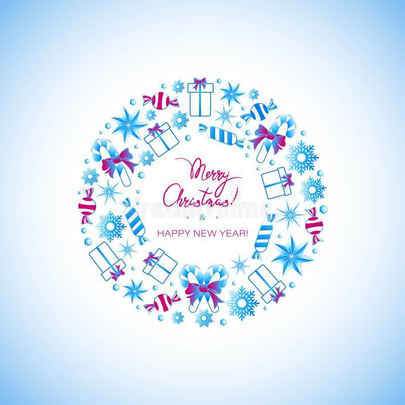 Natale caramella, regali e saluti di festa in un cerchio illustrazione di stock