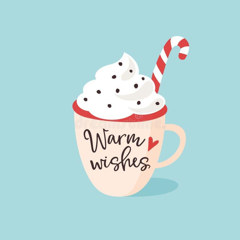 Natale, cartolina d'auguri del nuovo anno, invito Scritto a mano riscaldi il testo di desideri Tazza disegnata a mano di tè, di c illustrazione vettoriale