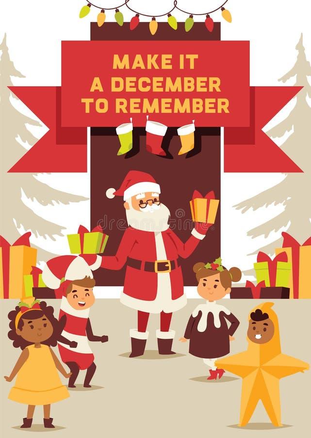 Natale cartolina d'auguri di 2019 buoni anni Santa e feste felici dell'insegna del fondo di vettore del costume dei bambini dei b illustrazione di stock