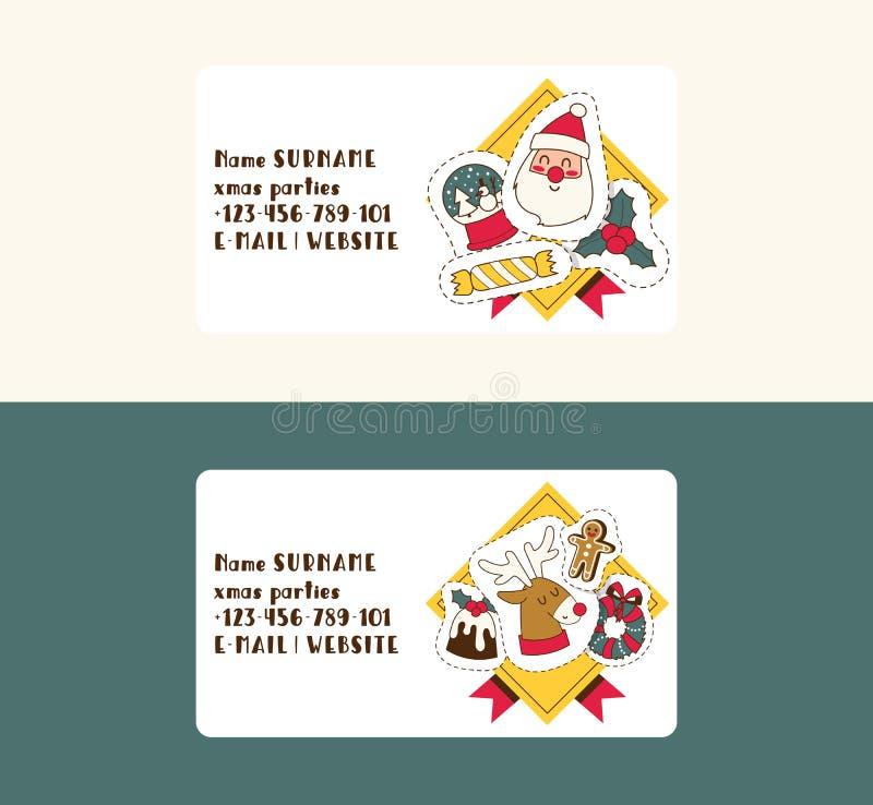 Natale cartolina d'auguri di 2019 buoni anni Santa e feste felici dell'insegna del fondo di vettore del costume dei bambini dei b illustrazione vettoriale