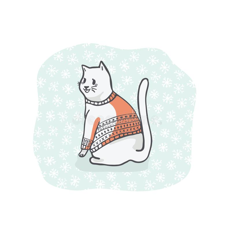 Natale Cat Greetings Card Clipart, Cat Lover disegnata a mano in ricamo illustrazione vettoriale