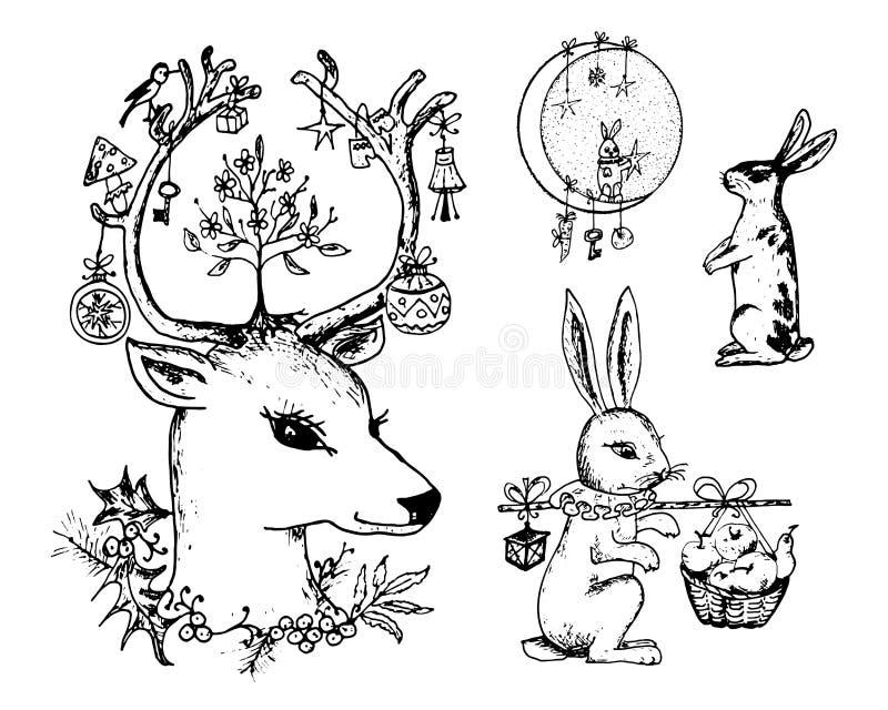 Natale cervi ed animale con i fiori nei corni Lepre del nuovo anno e coniglio o coniglietto nelle vacanze invernali della foresta illustrazione vettoriale