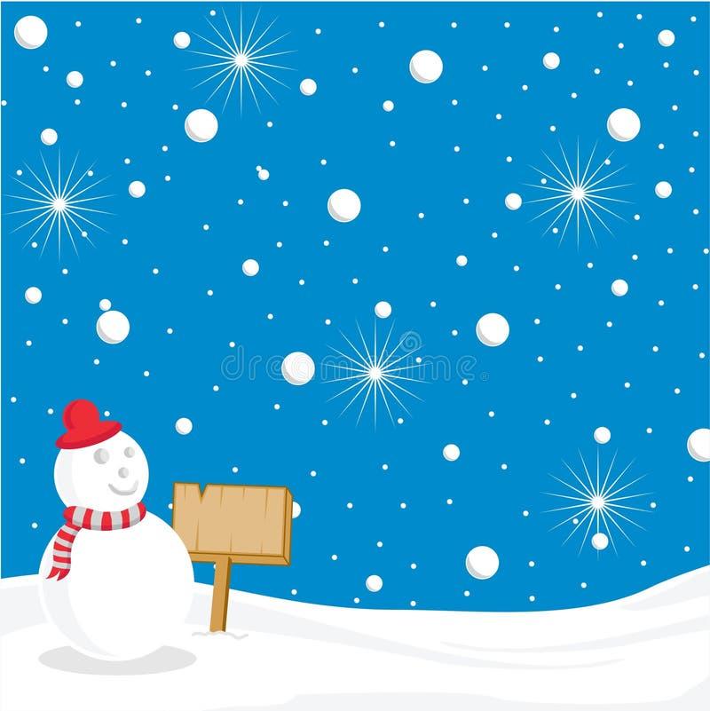 Natale che accoglie con il nastro, la neve, la bambola e la stella illustrazione vettoriale
