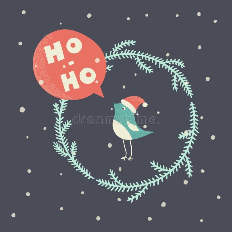 Natale che accoglie corona con l'uccello illustrazione di stock