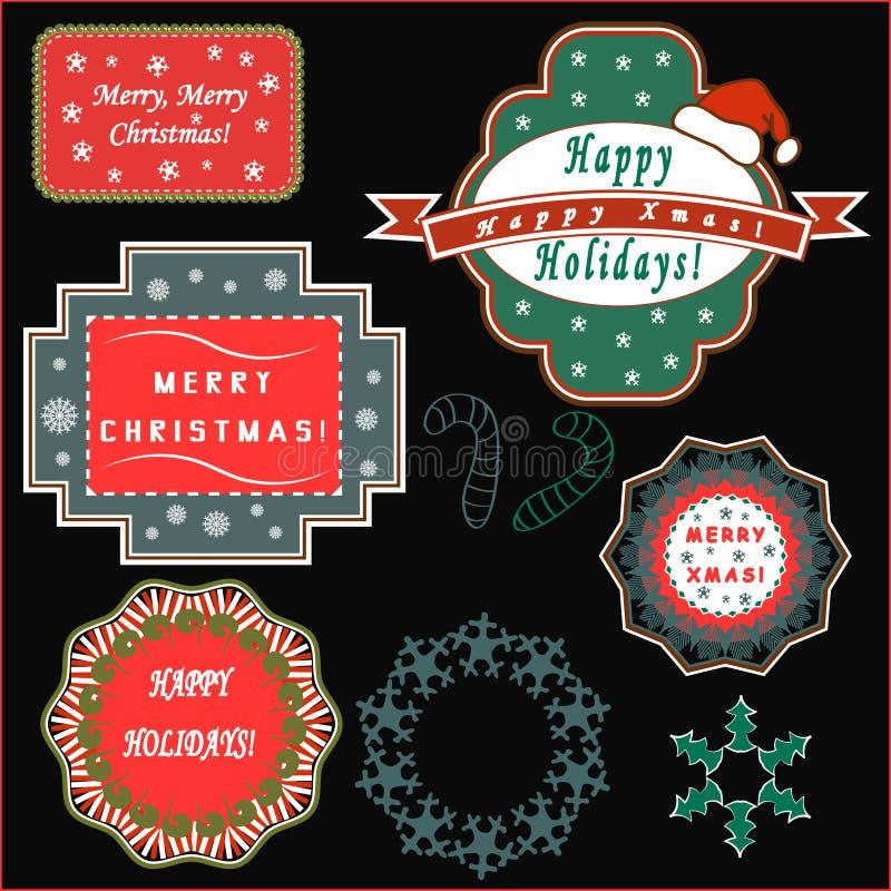 Natale che accoglie le etichette fotografia stock libera da diritti