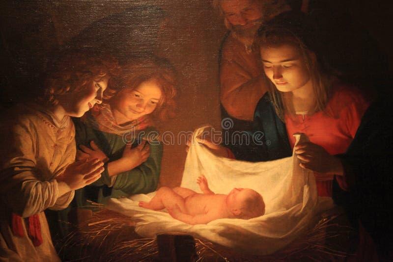 Natale che dipinge, galleria di Uffizi, Firenze, Italia immagini stock libere da diritti