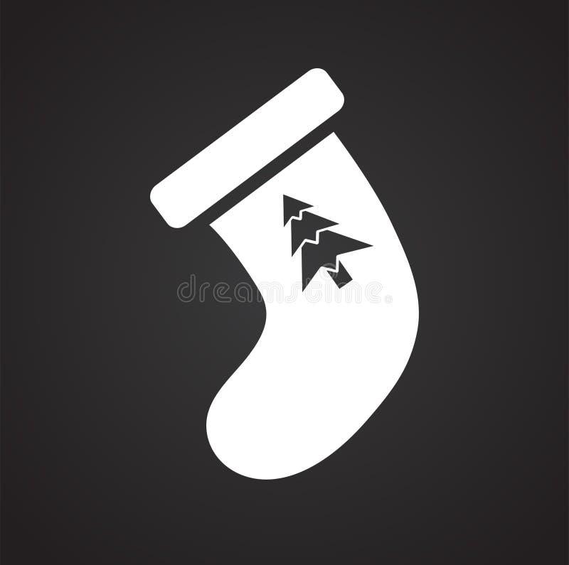 Natale che immagazzina icona su fondo nero per il grafico ed il web design, segno semplice moderno di vettore Concetto del Intern illustrazione di stock