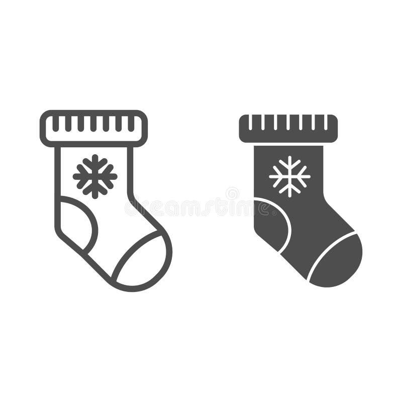 Natale che immagazzina linea e l'icona di glifo Calzino con l'illustrazione di vettore del fiocco di neve isolata su bianco Stile illustrazione vettoriale
