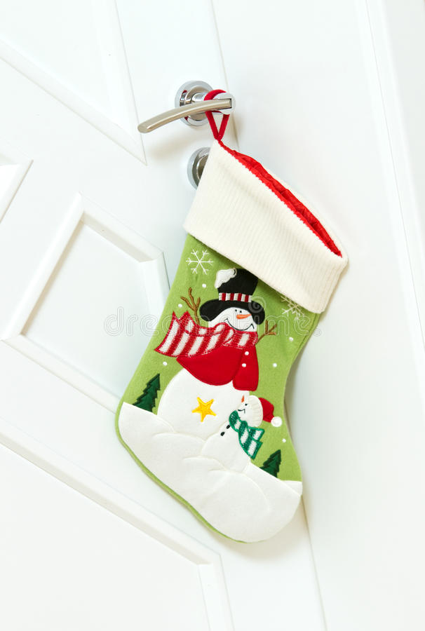 Natale che immagazzina sulla porta fotografia stock libera da diritti