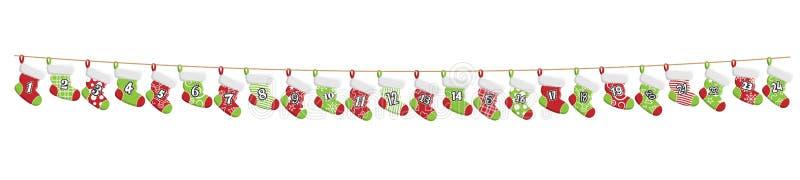 Natale che immagazzina vettore del calendario di arrivo illustrazione di stock