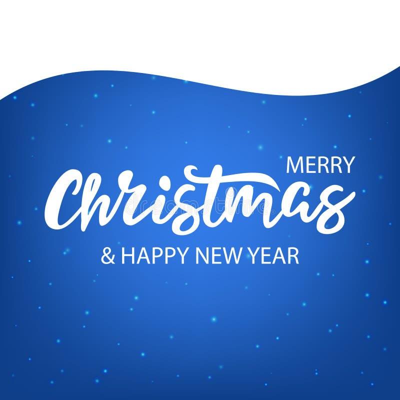 Natale che segna con la neve sul blu immagini stock