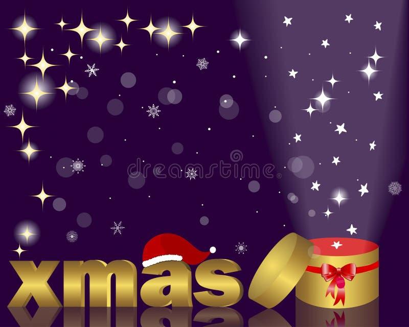 Natale con il cappello di Santa ed il contenitore di regalo aperto. royalty illustrazione gratis