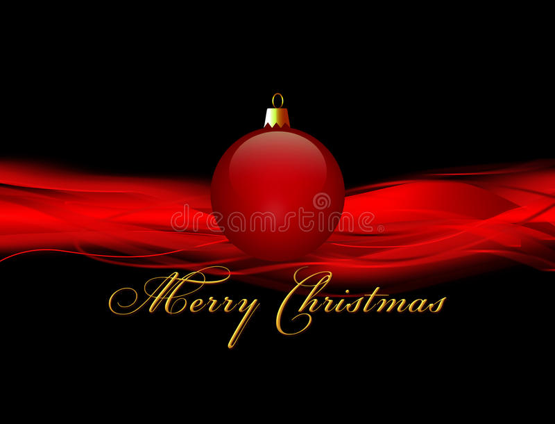 Natale con la palla rossa su fondo nero illustrazione vettoriale
