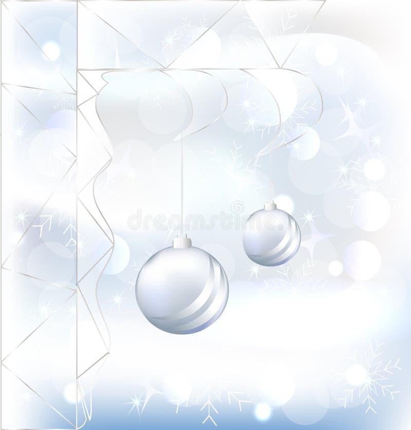 Natale con vetro, vettore della palla fotografia stock libera da diritti