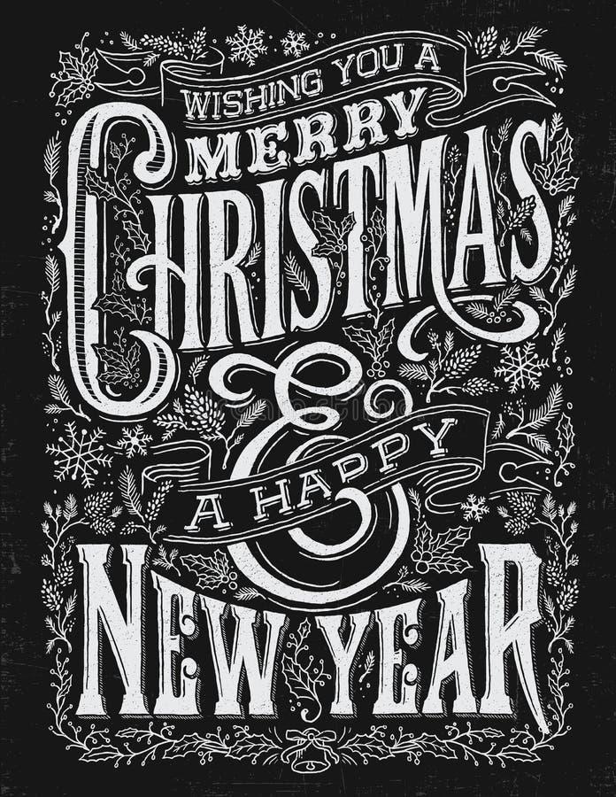 Natale d'annata ed imprigionamento di tipografia della lavagna del nuovo anno illustrazione vettoriale