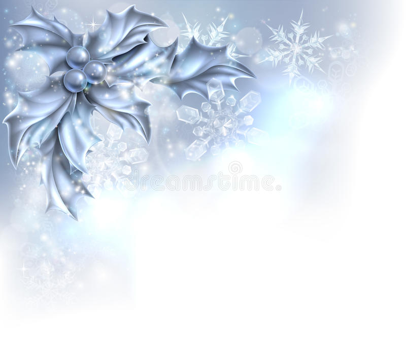 Natale d'argento astratto Holly Background illustrazione di stock