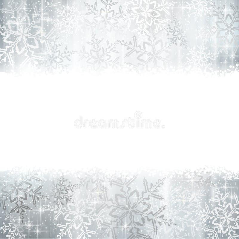 Natale d'argento, fondo di inverno con i fiocchi di neve illustrazione di stock