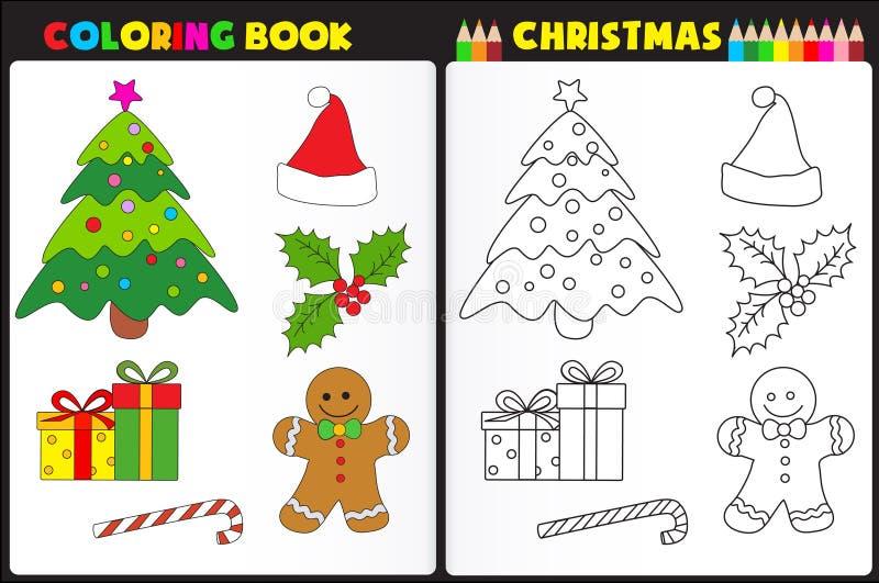 Natale del libro da colorare illustrazione vettoriale