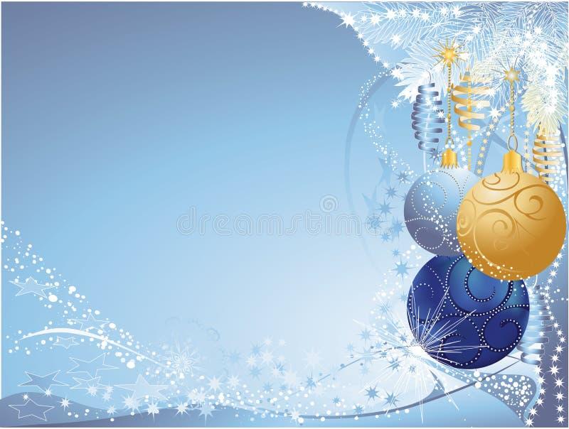 Natale dell'oro e dell'azzurro illustrazione di stock