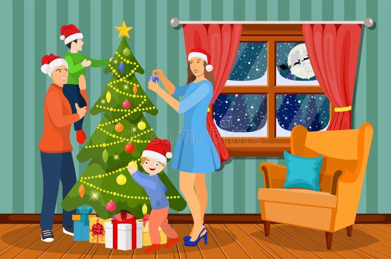 Natale della famiglia che anche scena illustrazione di stock