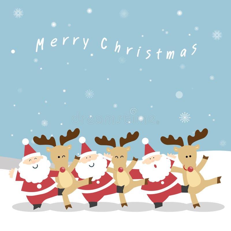 Natale della renna e di Santa royalty illustrazione gratis