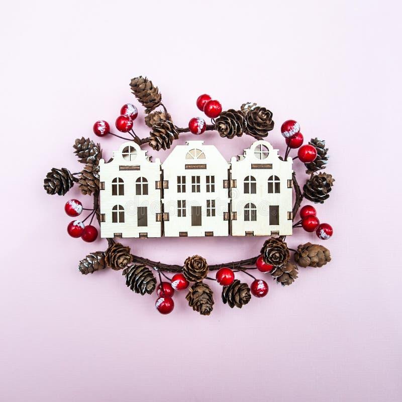 Natale di concetto, nuovo anno, inverno nella città immagine stock