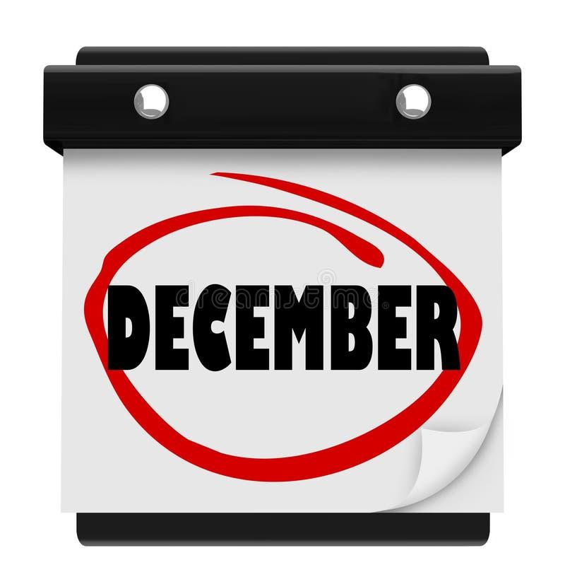 Natale di inverno di mese del cambiamento del calendario murale di parola di dicembre illustrazione vettoriale