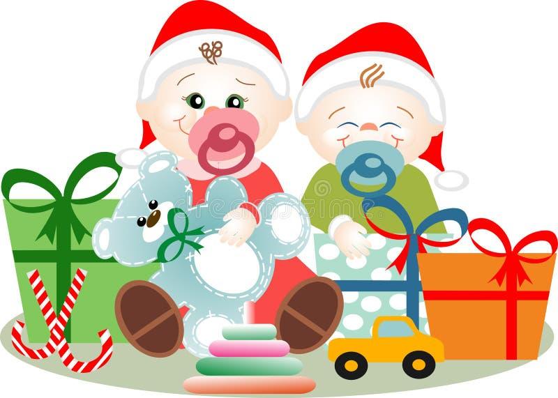 Natale di piccoli fratelli illustrazione vettoriale