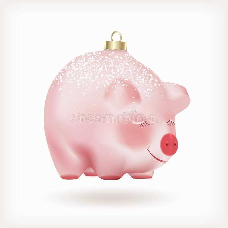 Natale di porcellino rosa adorabile sveglio della neonata o bolla realistico del nuovo anno con il cappuccio dorato isolato su fo royalty illustrazione gratis